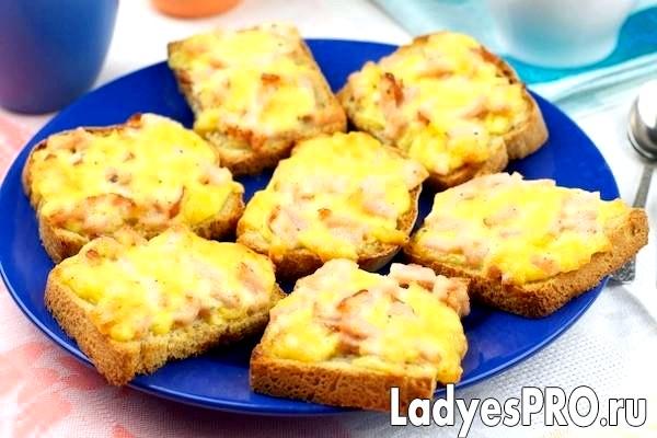 Гарячі бутерброди з шинкою і сиром