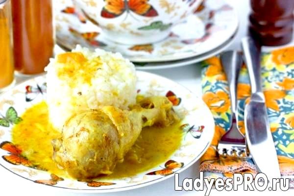 Курячі гомілки в мангового-вершковому соусі